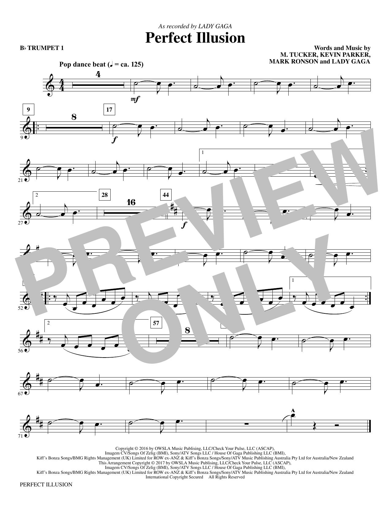 Mac Huff Perfect Illusion - Bb Trumpet 1 sheet music notes and chords. Download Printable PDF.