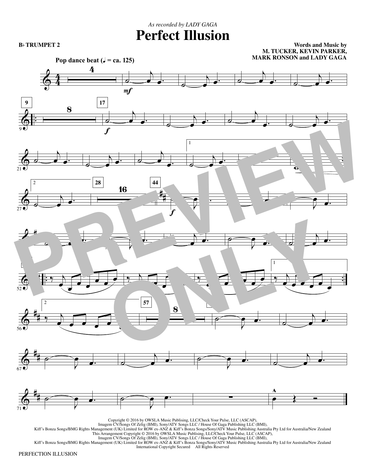 Mac Huff Perfect Illusion - Bb Trumpet 2 sheet music notes and chords. Download Printable PDF.