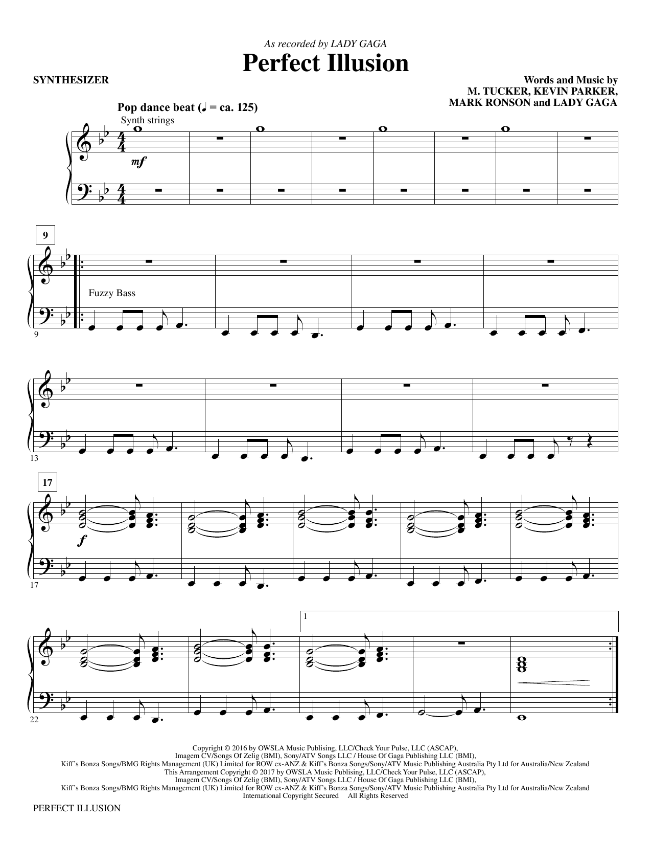 Mac Huff Perfect Illusion - Synthesizer sheet music notes and chords. Download Printable PDF.