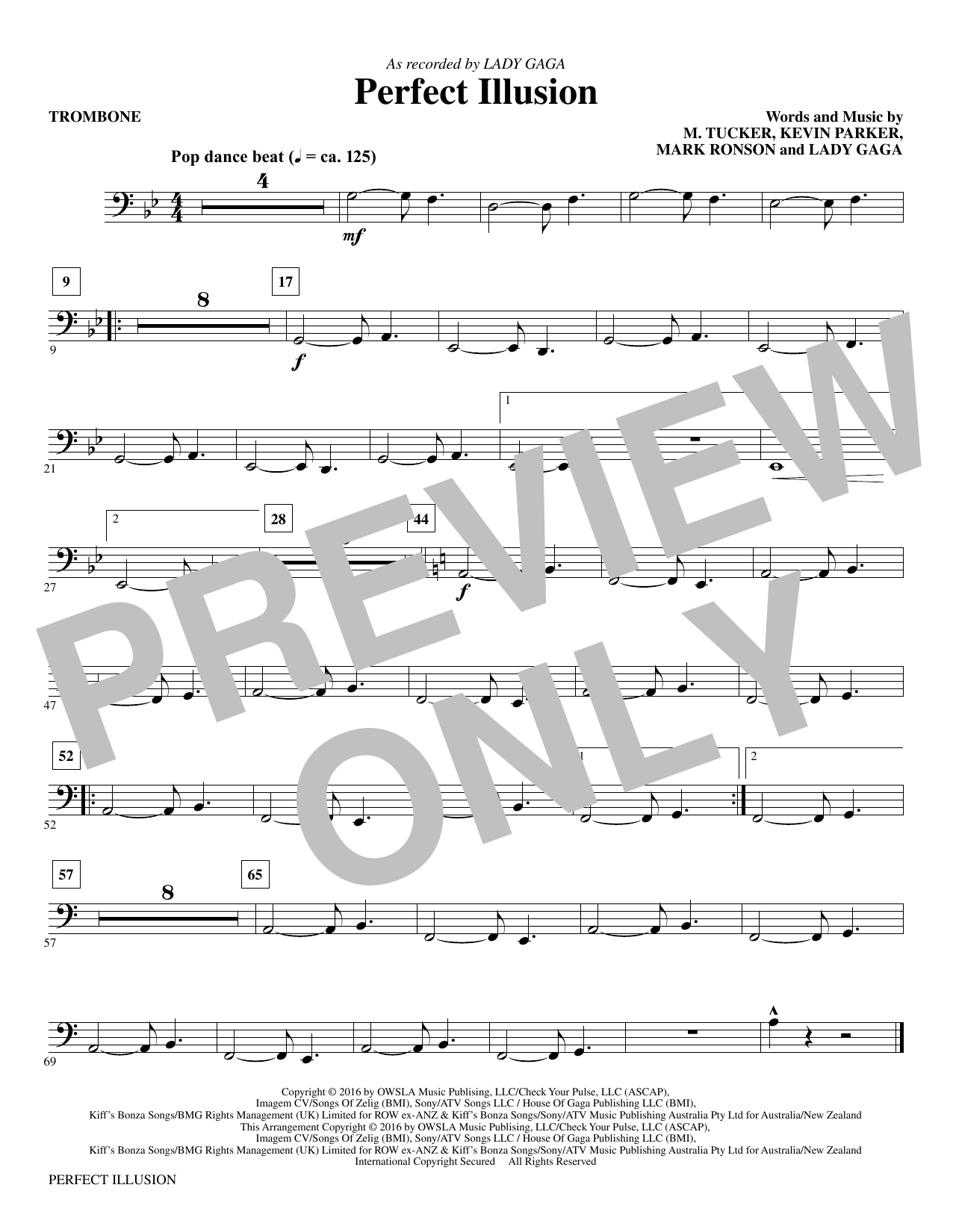 Mac Huff Perfect Illusion - Trombone sheet music notes and chords. Download Printable PDF.