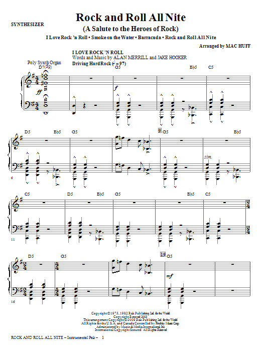 Mac Huff Rock And Roll All Nite (A Salute to The Heroes Of Rock) - Synthesizer sheet music notes and chords. Download Printable PDF.