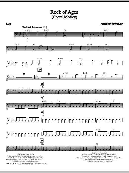Mac Huff Rock Of Ages (Choral Medley) - Bass sheet music notes and chords. Download Printable PDF.
