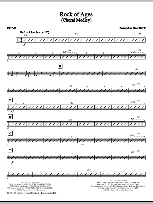 Mac Huff Rock Of Ages (Choral Medley) - Drums sheet music notes and chords. Download Printable PDF.