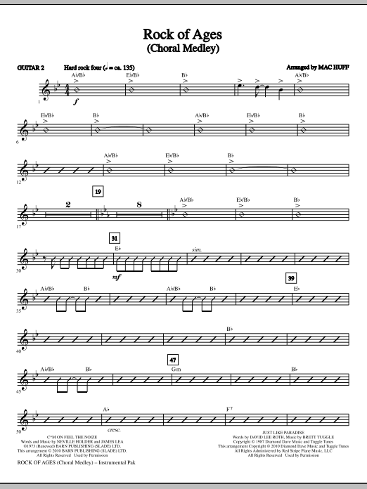 Mac Huff Rock Of Ages (Choral Medley) - Guitar 2 sheet music notes and chords. Download Printable PDF.