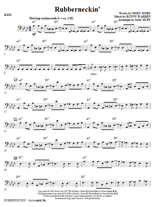 Mac Huff Rubberneckin' - Bass sheet music notes and chords. Download Printable PDF.
