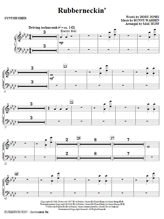 Mac Huff Rubberneckin' - Synthesizer sheet music notes and chords. Download Printable PDF.