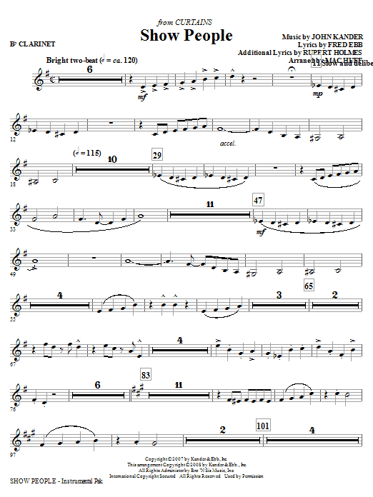 Mac Huff Show People - Bb Clarinet sheet music notes and chords. Download Printable PDF.