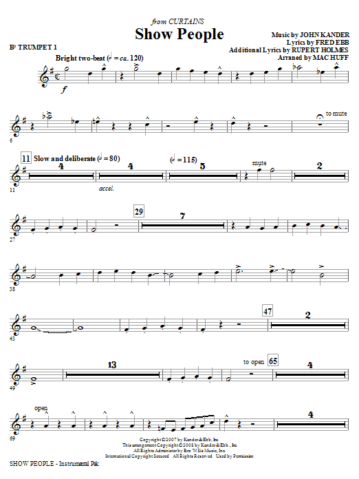 Mac Huff Show People - Bb Trumpet 1 sheet music notes and chords. Download Printable PDF.