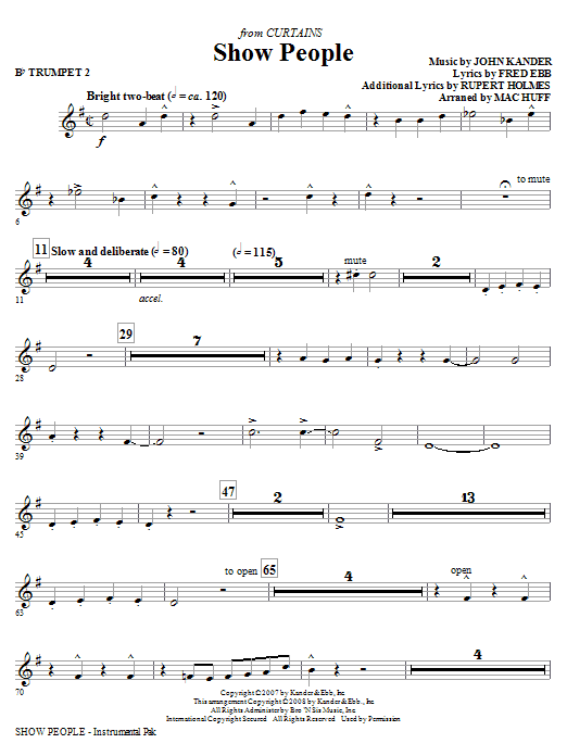Mac Huff Show People - Bb Trumpet 2 sheet music notes and chords. Download Printable PDF.