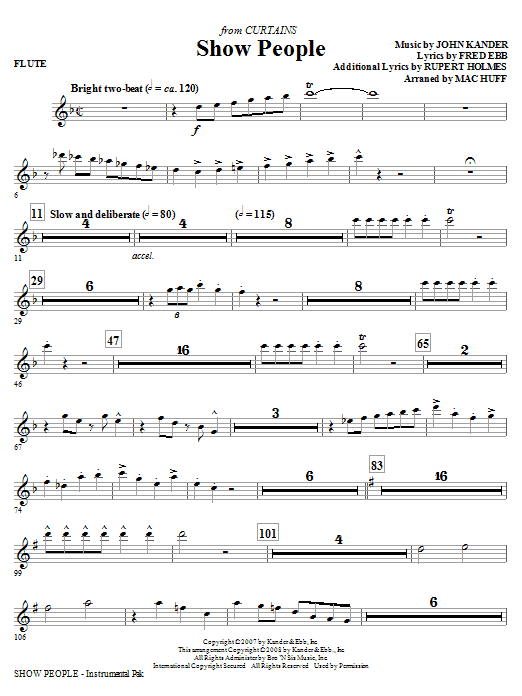 Mac Huff Show People - Flute sheet music notes and chords. Download Printable PDF.