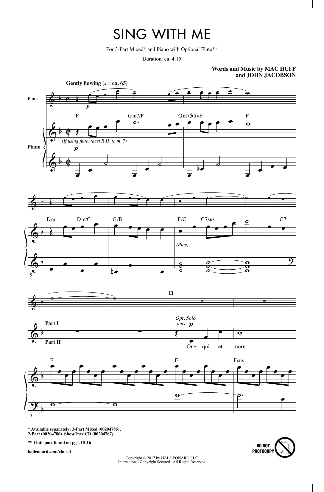 Mac Huff Sing With Me sheet music notes and chords. Download Printable PDF.