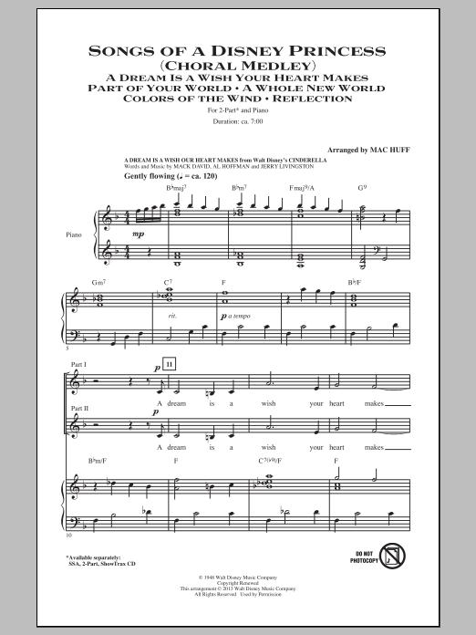 Mac Huff Songs of a Disney Princess (Choral Medley) sheet music notes and chords. Download Printable PDF.