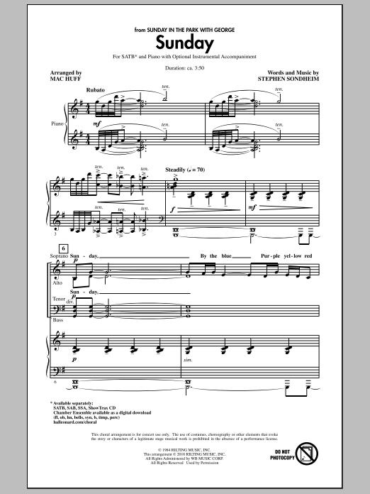 Mac Huff Sunday sheet music notes and chords. Download Printable PDF.