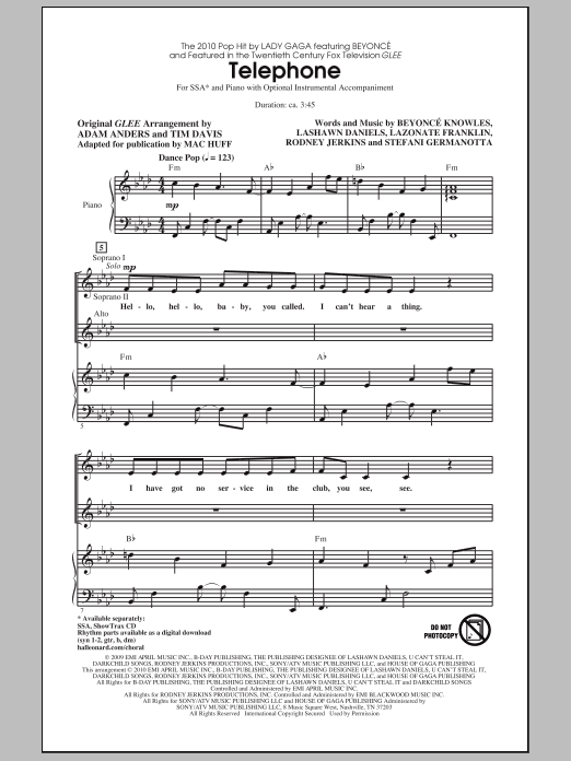 Mac Huff Telephone sheet music notes and chords. Download Printable PDF.