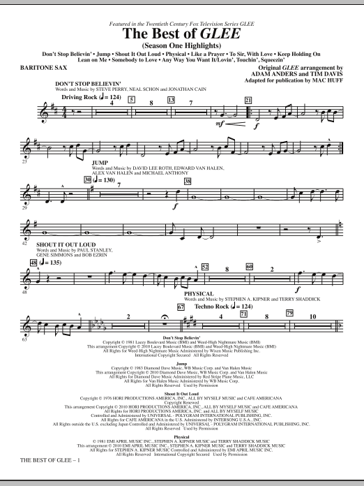Mac Huff The Best Of Glee (Season One Highlights) - Baritone Sax sheet music notes and chords. Download Printable PDF.