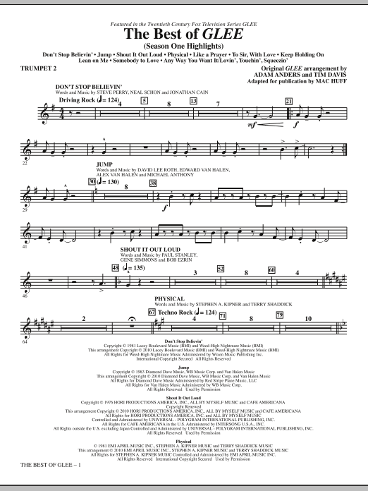 Mac Huff The Best Of Glee (Season One Highlights) - Trumpet 2 sheet music notes and chords. Download Printable PDF.