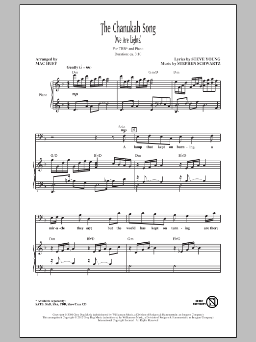 Mac Huff The Chanukah Song (We Are Lights) sheet music notes and chords. Download Printable PDF.