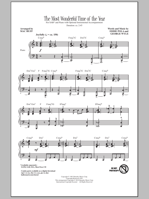 Mac Huff The Most Wonderful Time Of The Year sheet music notes and chords. Download Printable PDF.