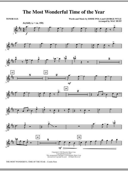 Mac Huff The Most Wonderful Time Of The Year - Tenor Sax sheet music notes and chords. Download Printable PDF.