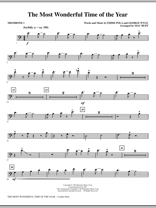 Mac Huff The Most Wonderful Time Of The Year - Trombone 1 sheet music notes and chords. Download Printable PDF.