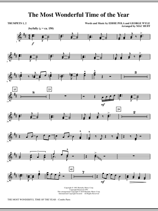 Mac Huff The Most Wonderful Time Of The Year - Trumpets 1 & 2 sheet music notes and chords. Download Printable PDF.