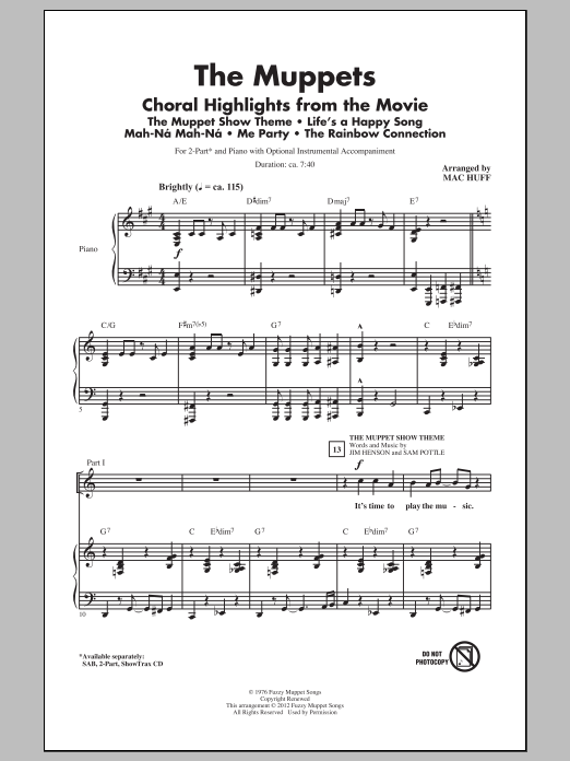 The Muppets The Muppets (Choral Highlights) (arr. Mac Huff) sheet music notes and chords. Download Printable PDF.