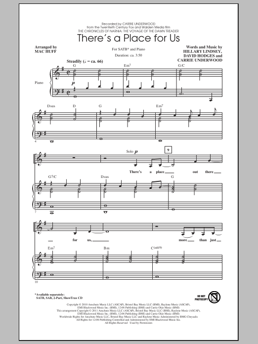 Carrie Underwood There's A Place For Us (arr. Mac Huff) sheet music notes and chords. Download Printable PDF.