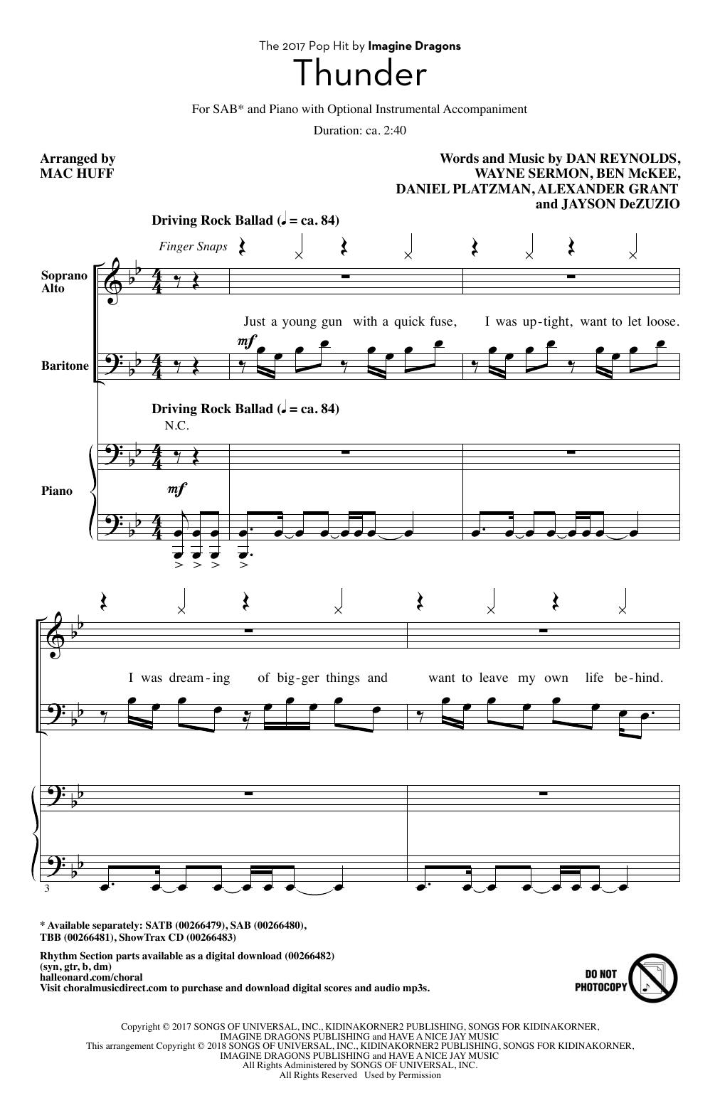 Mac Huff Thunder sheet music notes and chords