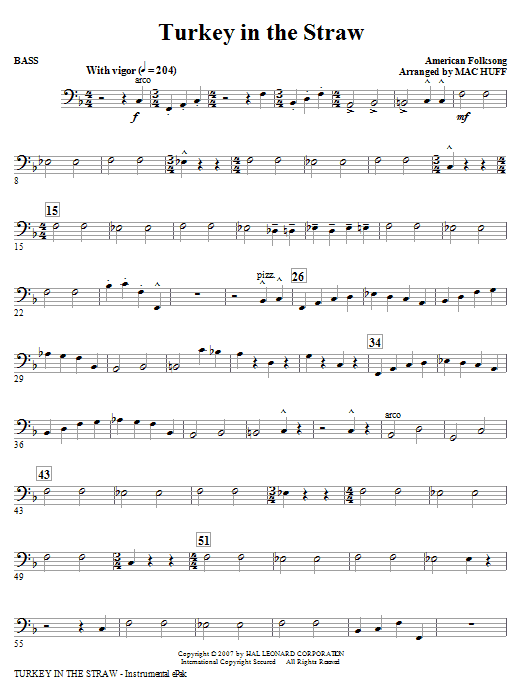 Mac Huff Turkey In The Straw - Bass sheet music notes and chords. Download Printable PDF.