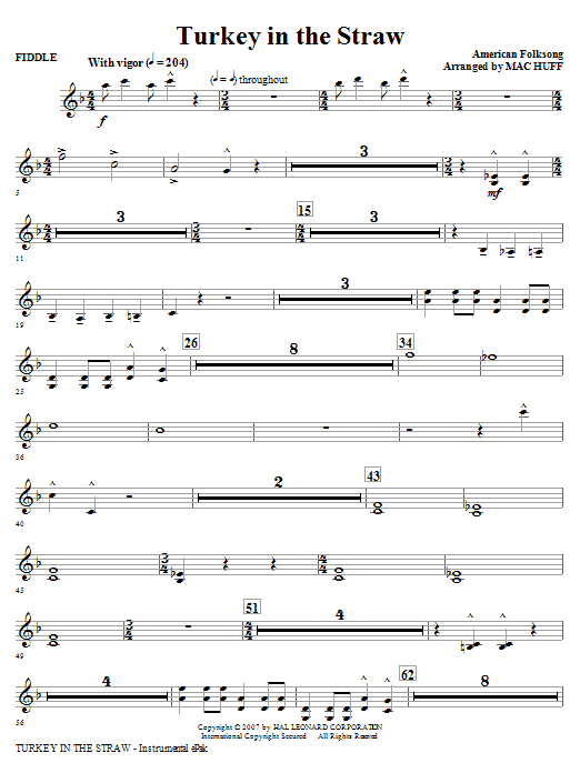 Mac Huff Turkey In The Straw - Fiddle sheet music notes and chords. Download Printable PDF.
