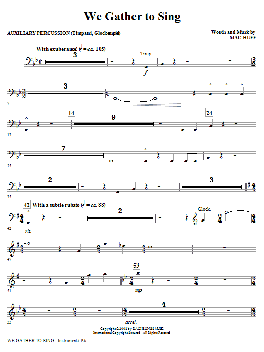 Mac Huff We Gather To Sing - Aux Percussion sheet music notes and chords. Download Printable PDF.