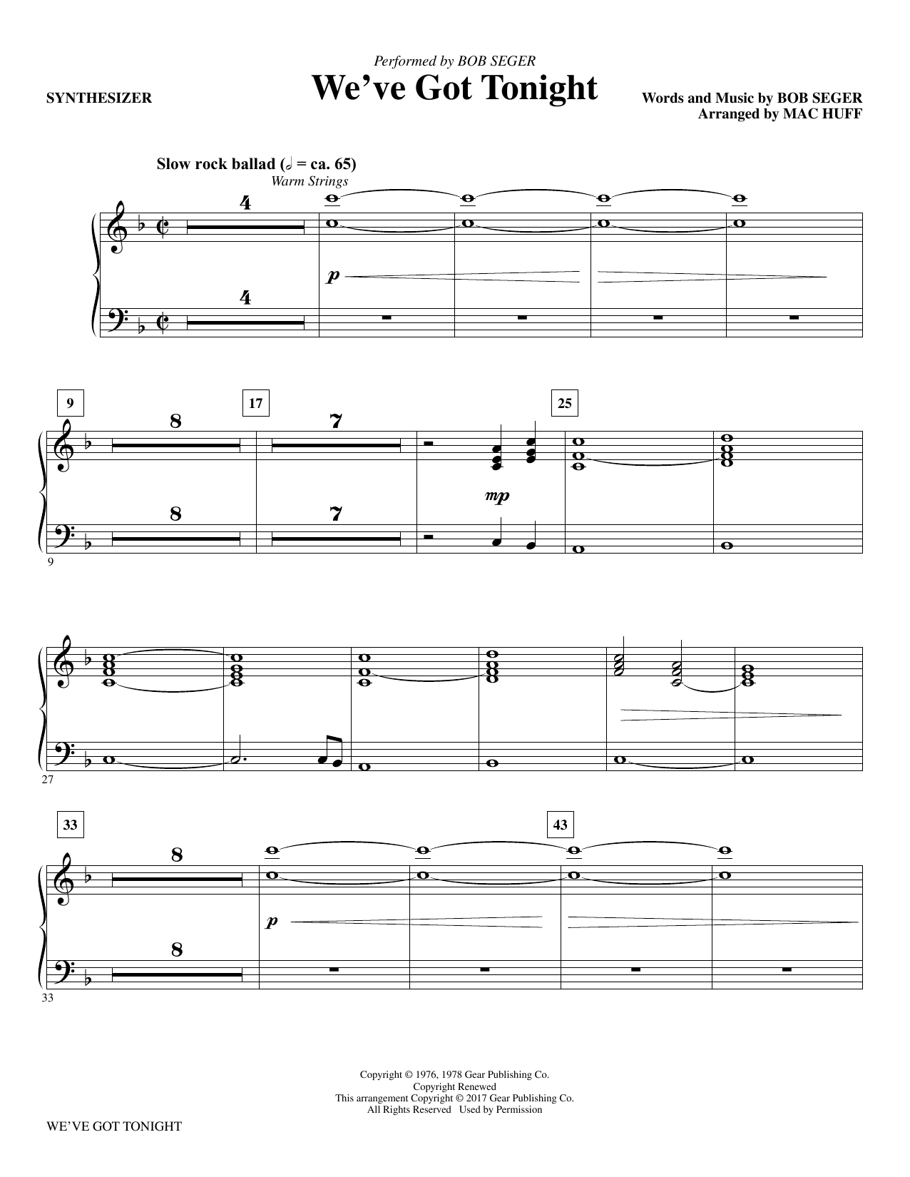 Mac Huff We've Got Tonight - Synthesizer sheet music notes and chords. Download Printable PDF.