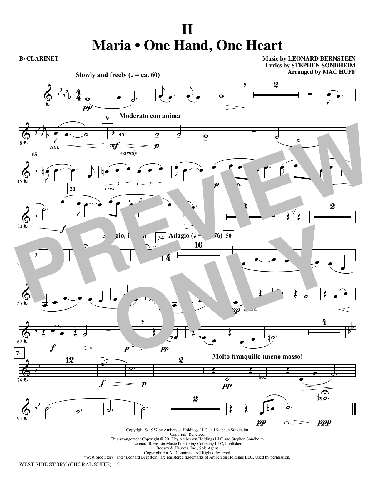 Mac Huff West Side Story - Clarinet sheet music notes and chords. Download Printable PDF.