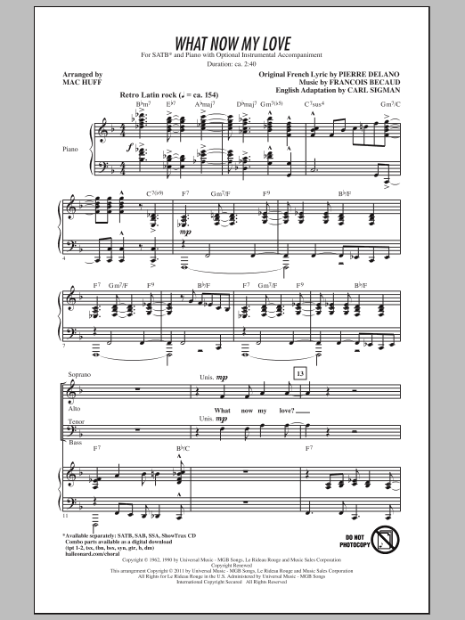 Mac Huff What Now My Love sheet music notes and chords. Download Printable PDF.