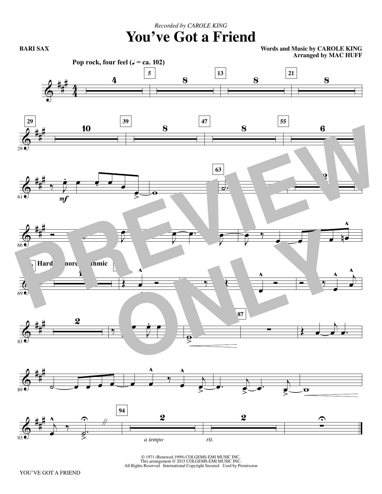Mac Huff You've Got a Friend - Baritone Sax sheet music notes and chords. Download Printable PDF.