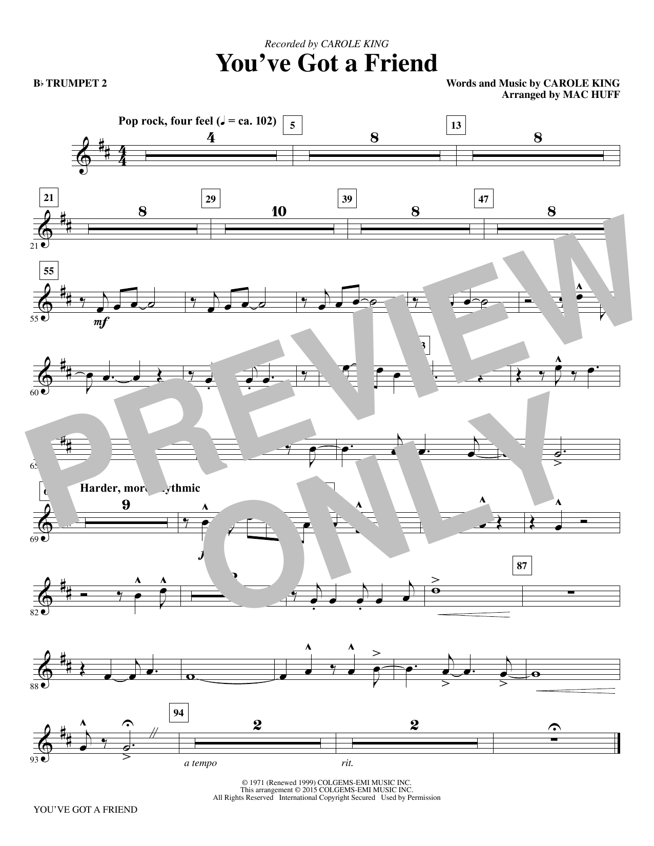 Mac Huff You've Got a Friend - Bb Trumpet 2 sheet music notes and chords. Download Printable PDF.