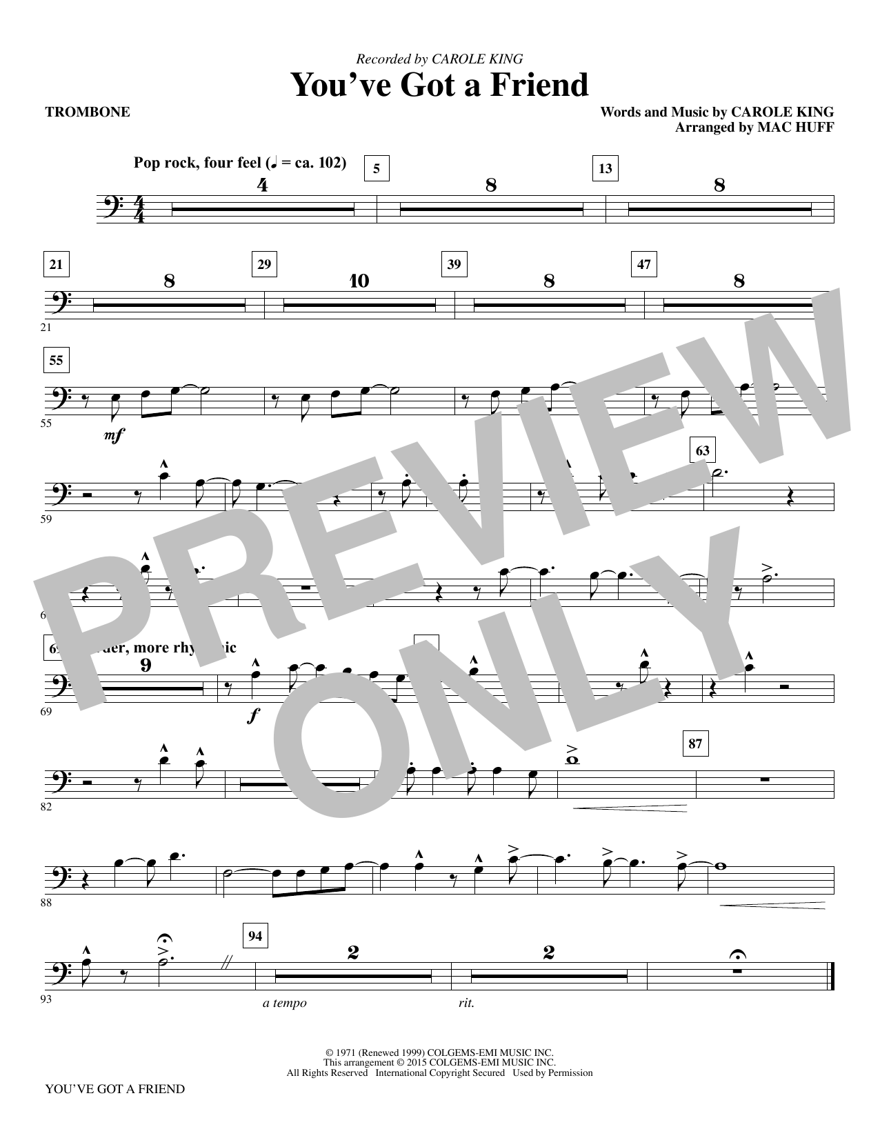 Mac Huff You've Got a Friend - Trombone sheet music notes and chords. Download Printable PDF.
