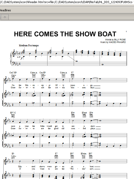Maceo Pinkard Here Comes The Show Boat sheet music notes and chords. Download Printable PDF.