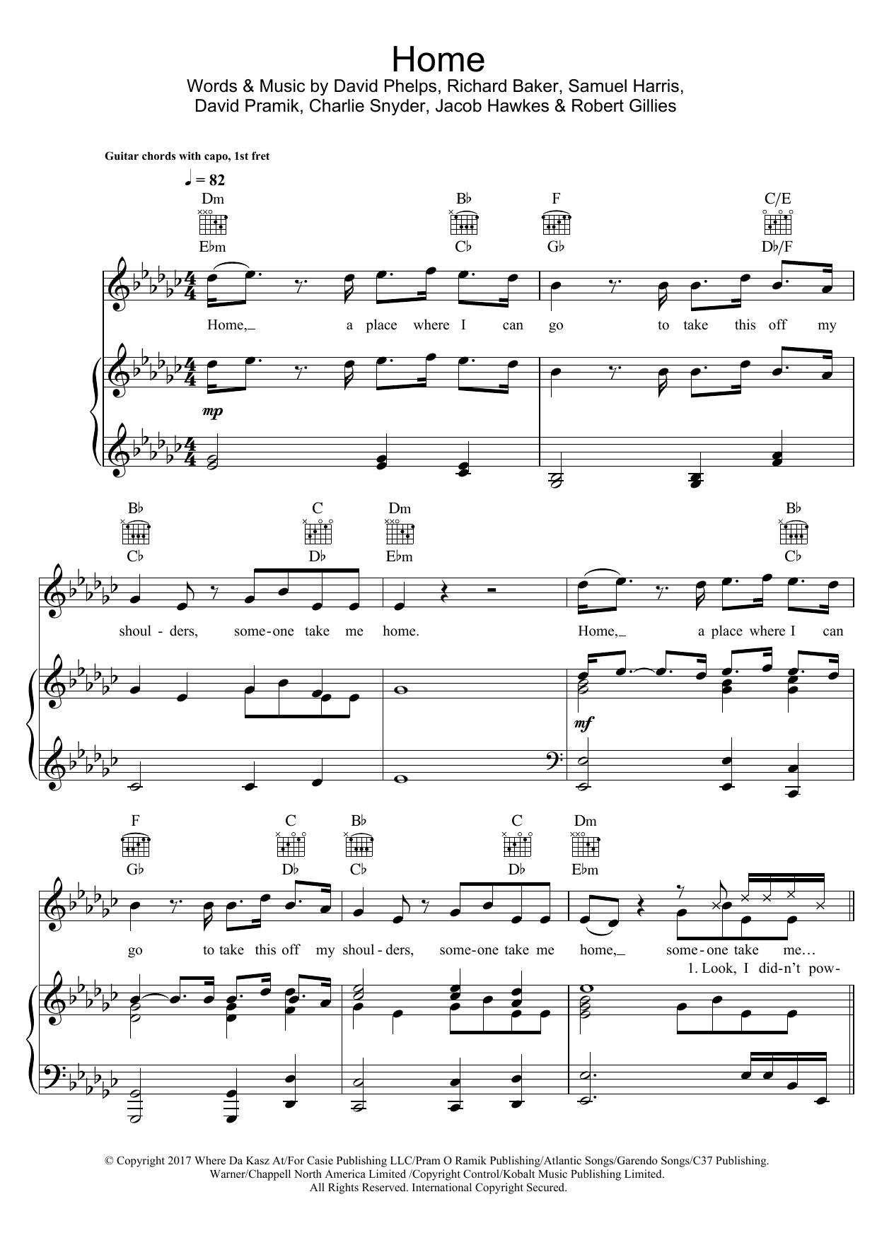 Machine Gun Kelly Home (feat. X Ambassadors & Bebe Rexha) sheet music notes and chords. Download Printable PDF.