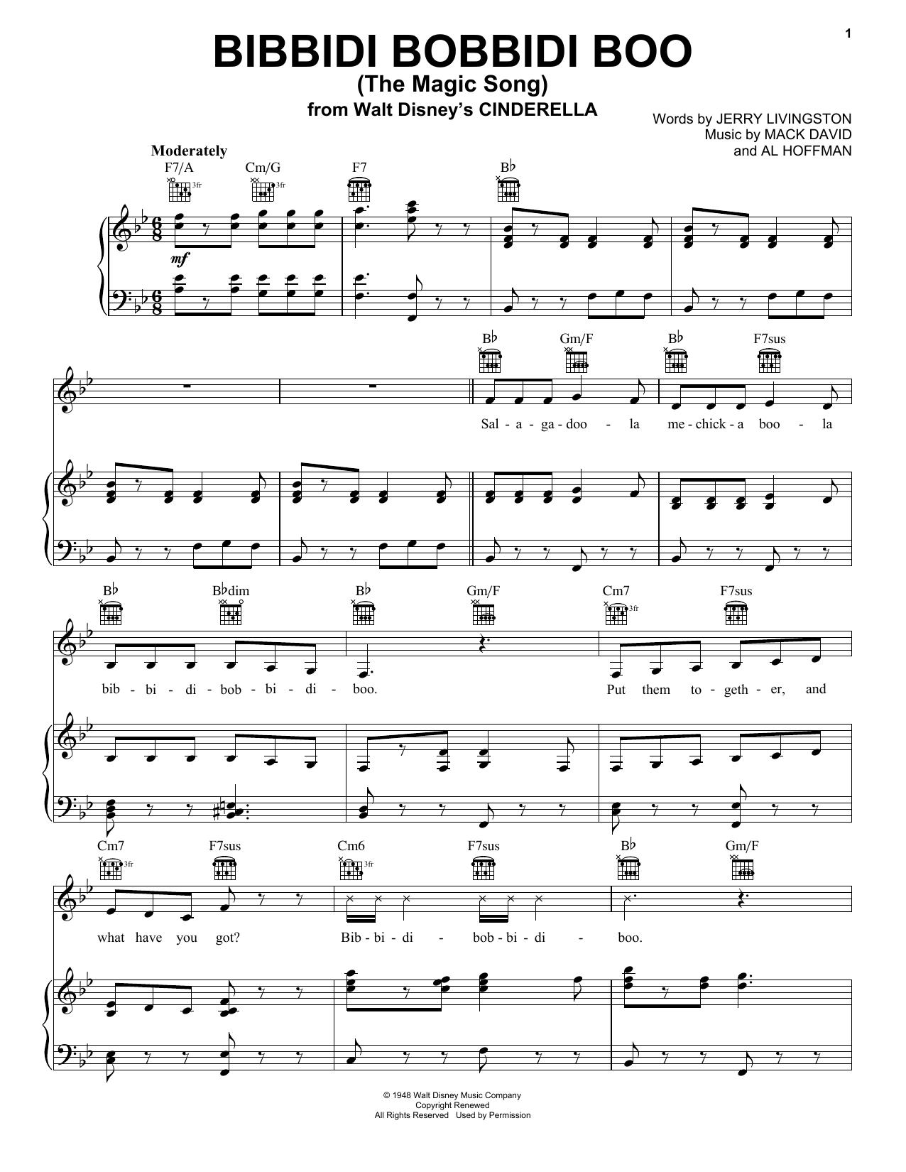 Mack David Bibbidi-Bobbidi-Boo (The Magic Song) sheet music notes and chords. Download Printable PDF.