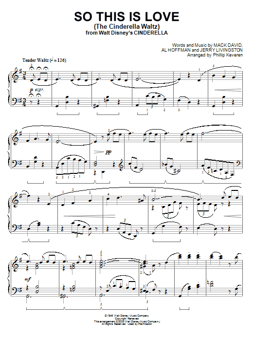 Mack David So This Is Love (The Cinderella Waltz) [Classical version] (arr. Phillip Keveren) sheet music notes and chords. Download Printable PDF.