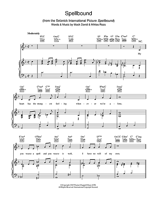 Mack David Spellbound sheet music notes and chords