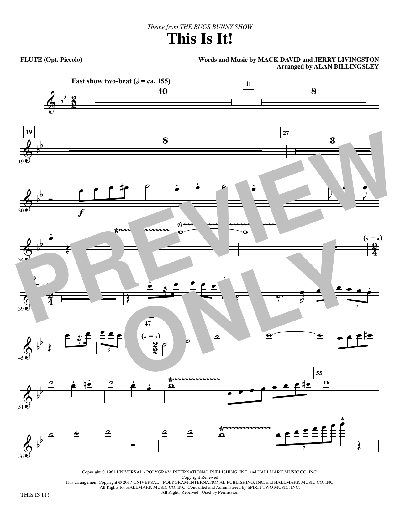 Mack David & Jerry Livingston This Is It! (arr. Alan Billingsley) - Flute sheet music notes and chords. Download Printable PDF.