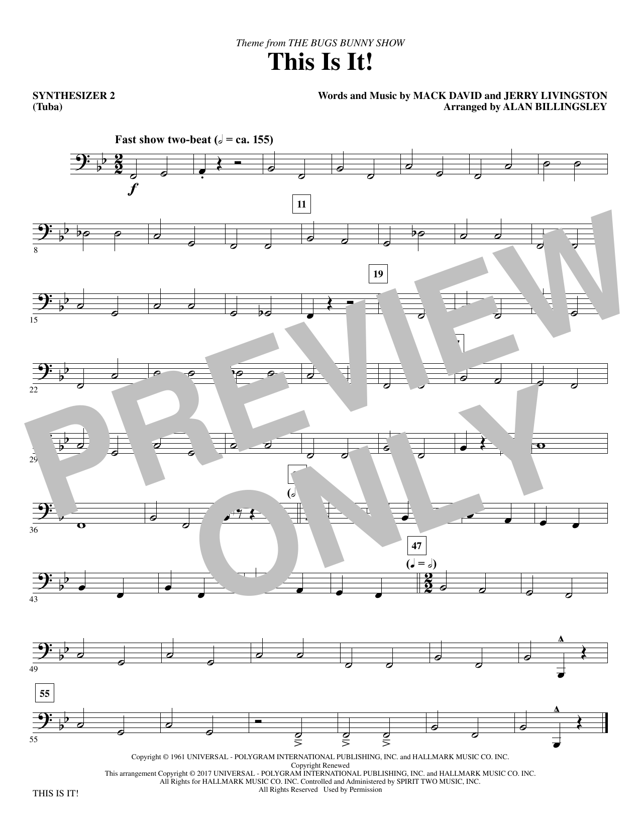 Mack David & Jerry Livingston This Is It! (arr. Alan Billingsley) - Synthesizer II sheet music notes and chords. Download Printable PDF.