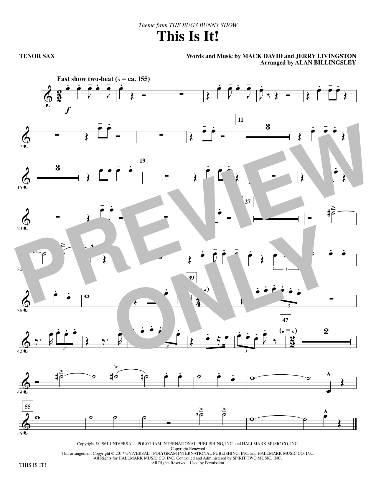 Mack David & Jerry Livingston This Is It! (arr. Alan Billingsley) - Tenor Saxophone sheet music notes and chords. Download Printable PDF.