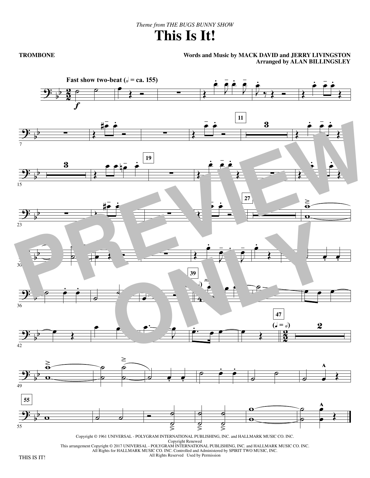 Mack David & Jerry Livingston This Is It! (arr. Alan Billingsley) - Trombone sheet music notes and chords. Download Printable PDF.