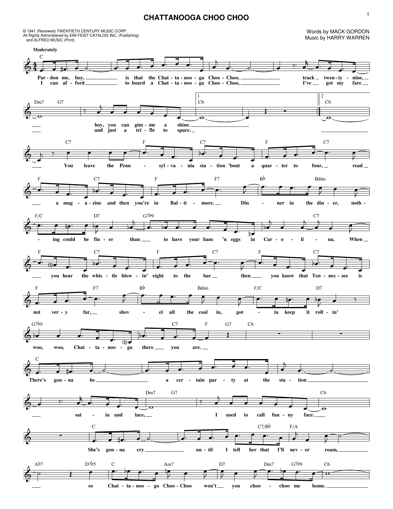 Mack Gordon Chattanooga Choo Choo sheet music notes and chords. Download Printable PDF.
