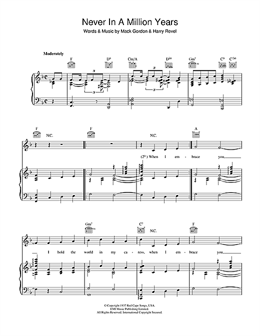 Mack Gordon Never In A Million Years sheet music notes and chords. Download Printable PDF.
