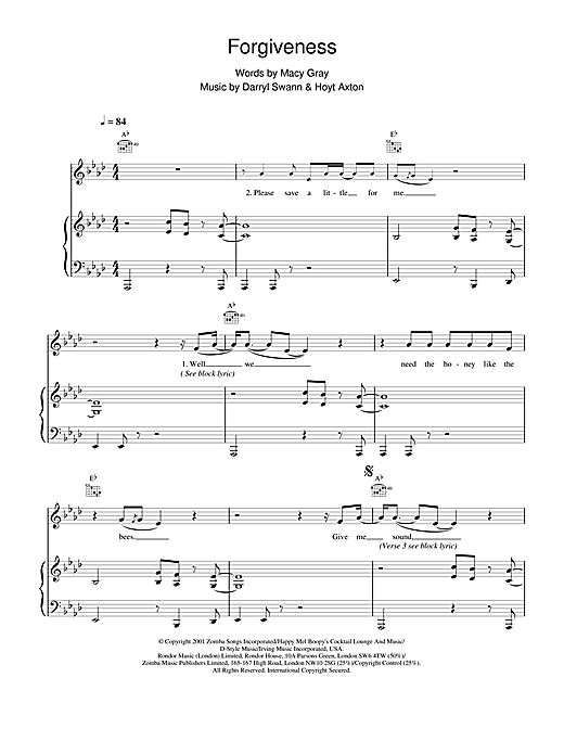 Macy  Gray Forgiveness sheet music notes and chords