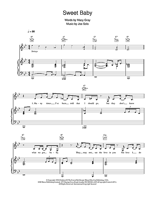Macy  Gray Sweet Baby sheet music notes and chords